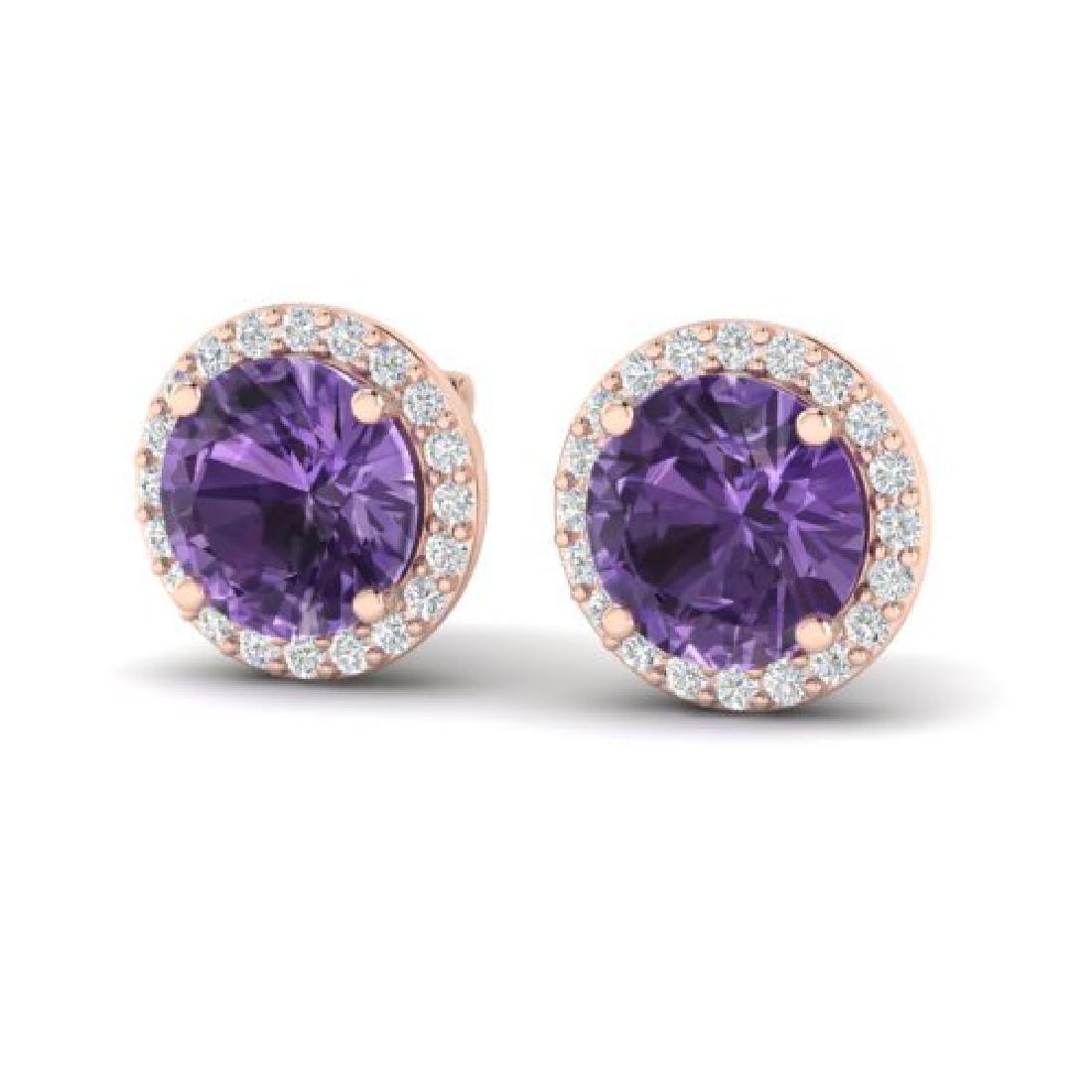 4 CTW Amethyst & Halo VS/SI Diamond Micro Pave Earrings
