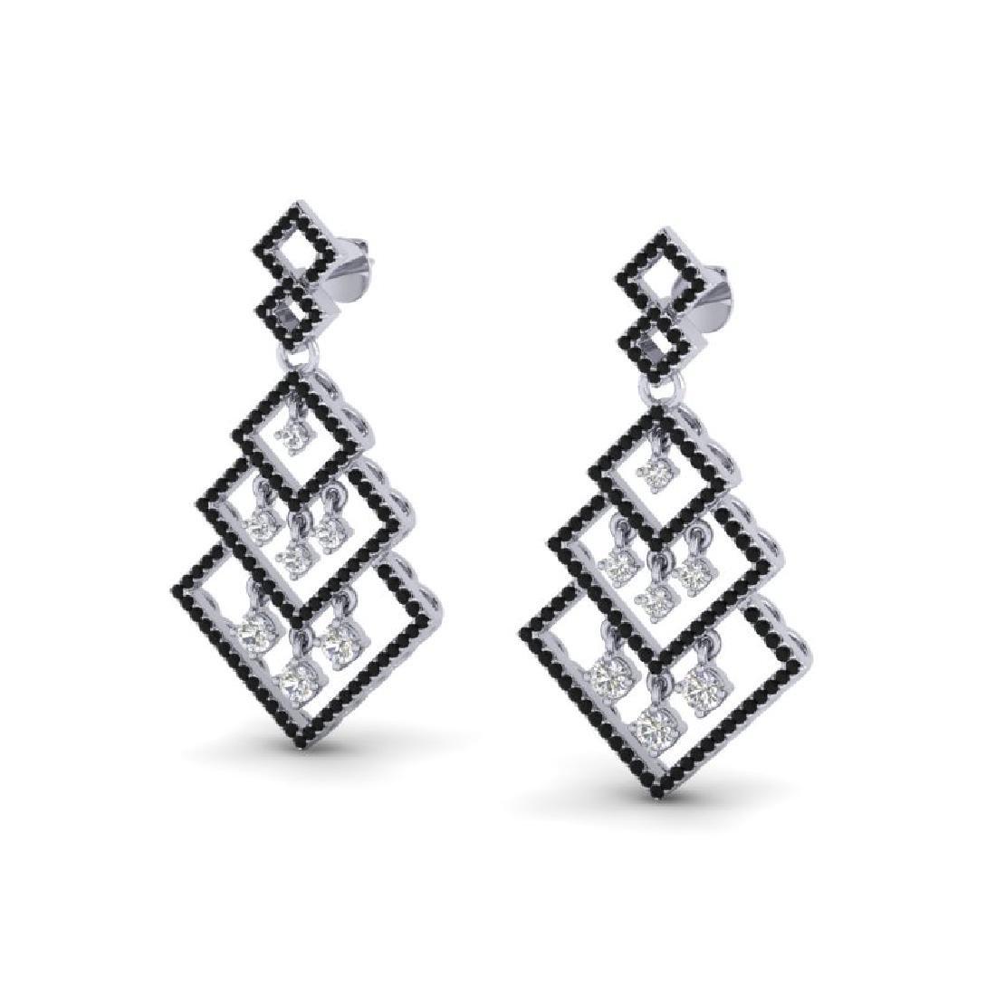 3 CTW Micro Pave Black & White VS/SI Diamond Earrings