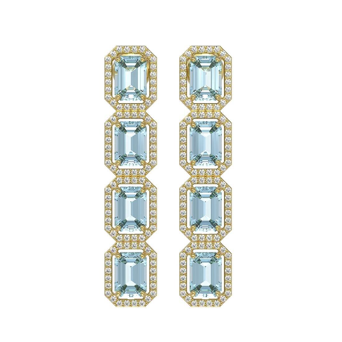 11.54 CTW Aquamarine & Diamond Halo Earrings 10K Yellow