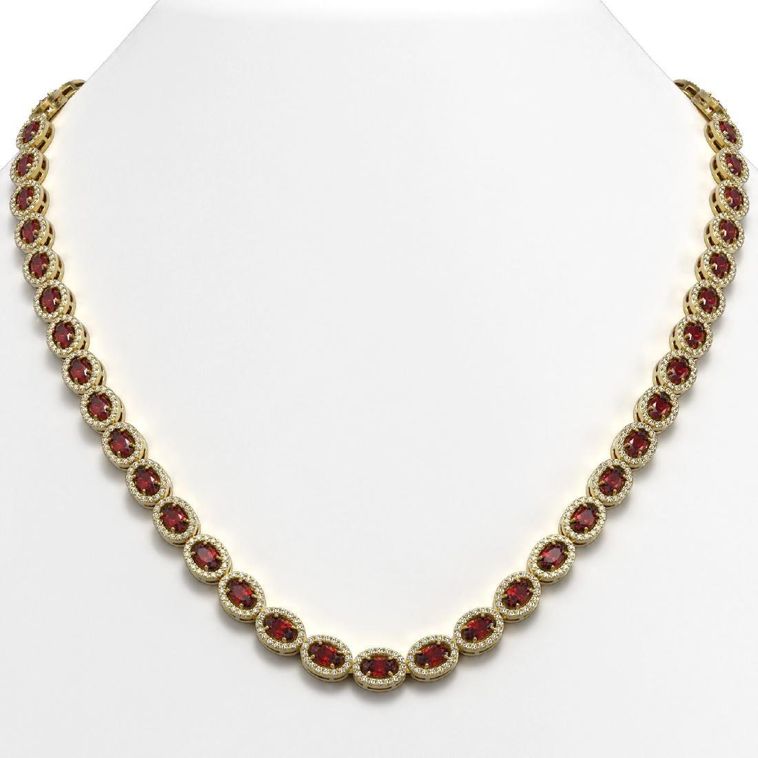 21.04 CTW Garnet & Diamond Halo Necklace 10K Yellow