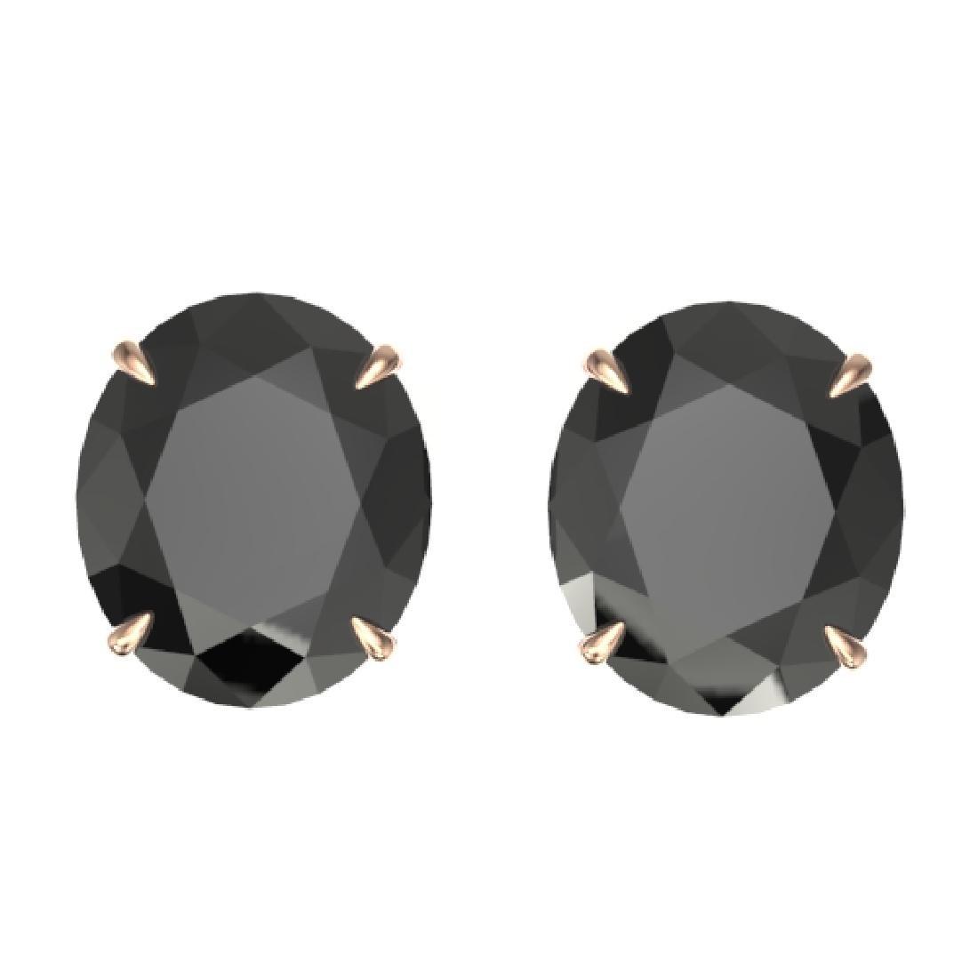 18 CTW Black VS/SI Diamond Designer Stud Earrings 14K