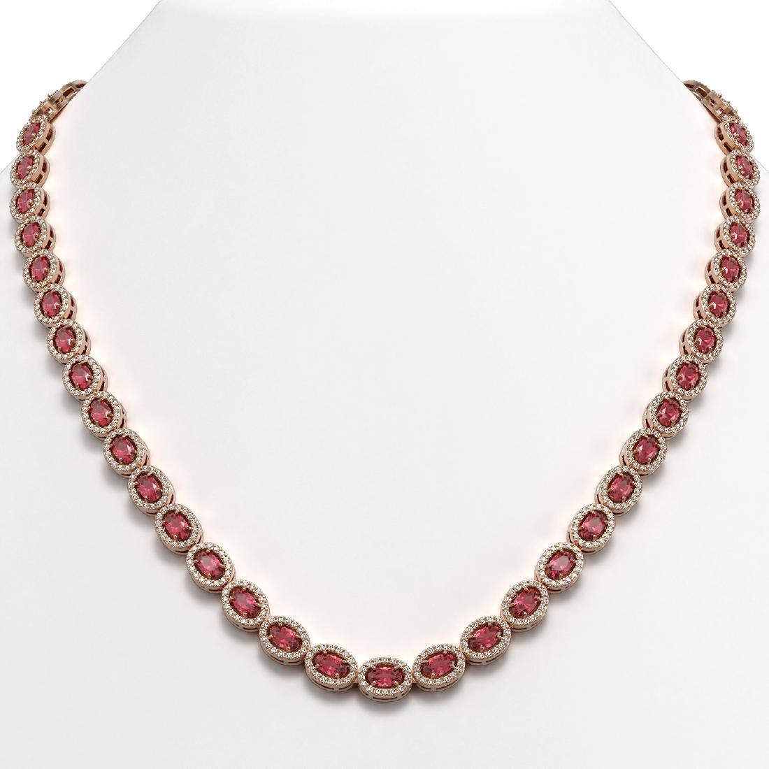 23.57 CTW Tourmaline & Diamond Halo Necklace 10K Rose