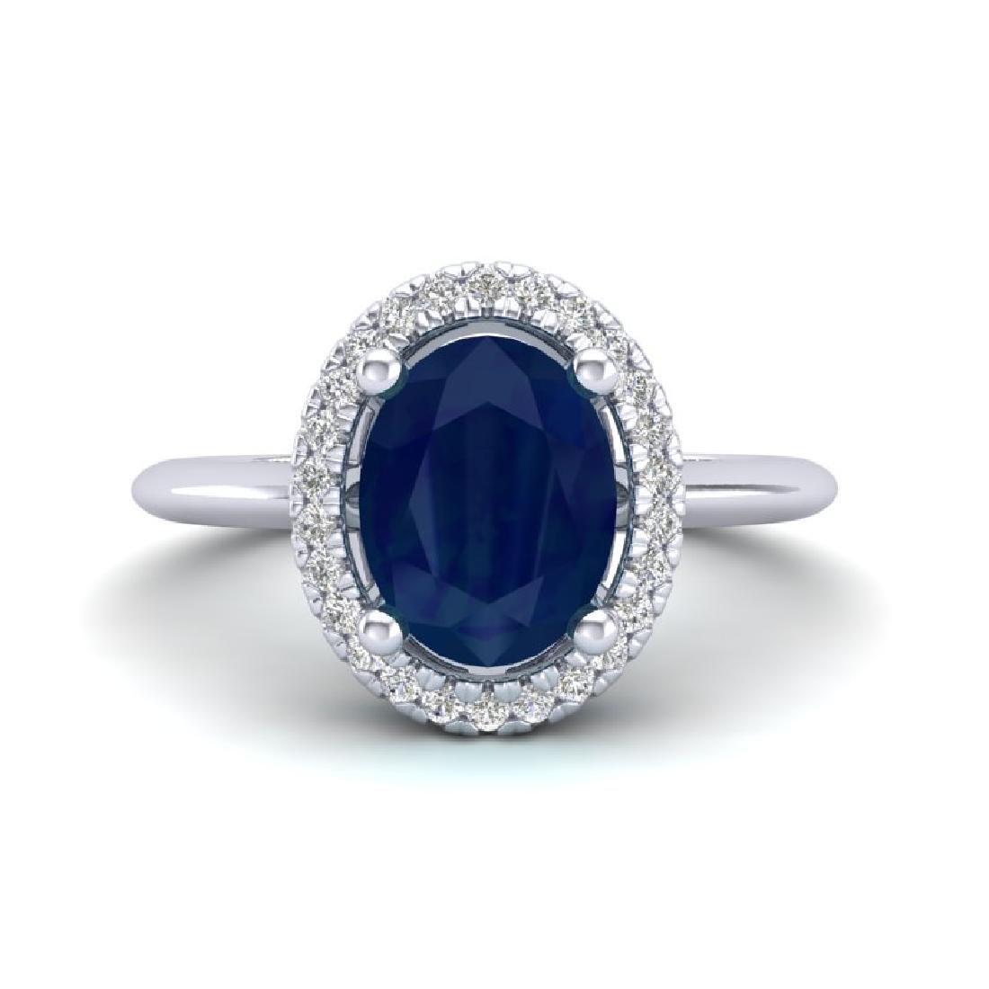 2 CTW Sapphire & Micro Pave VS/SI Diamond Ring Halo 18K