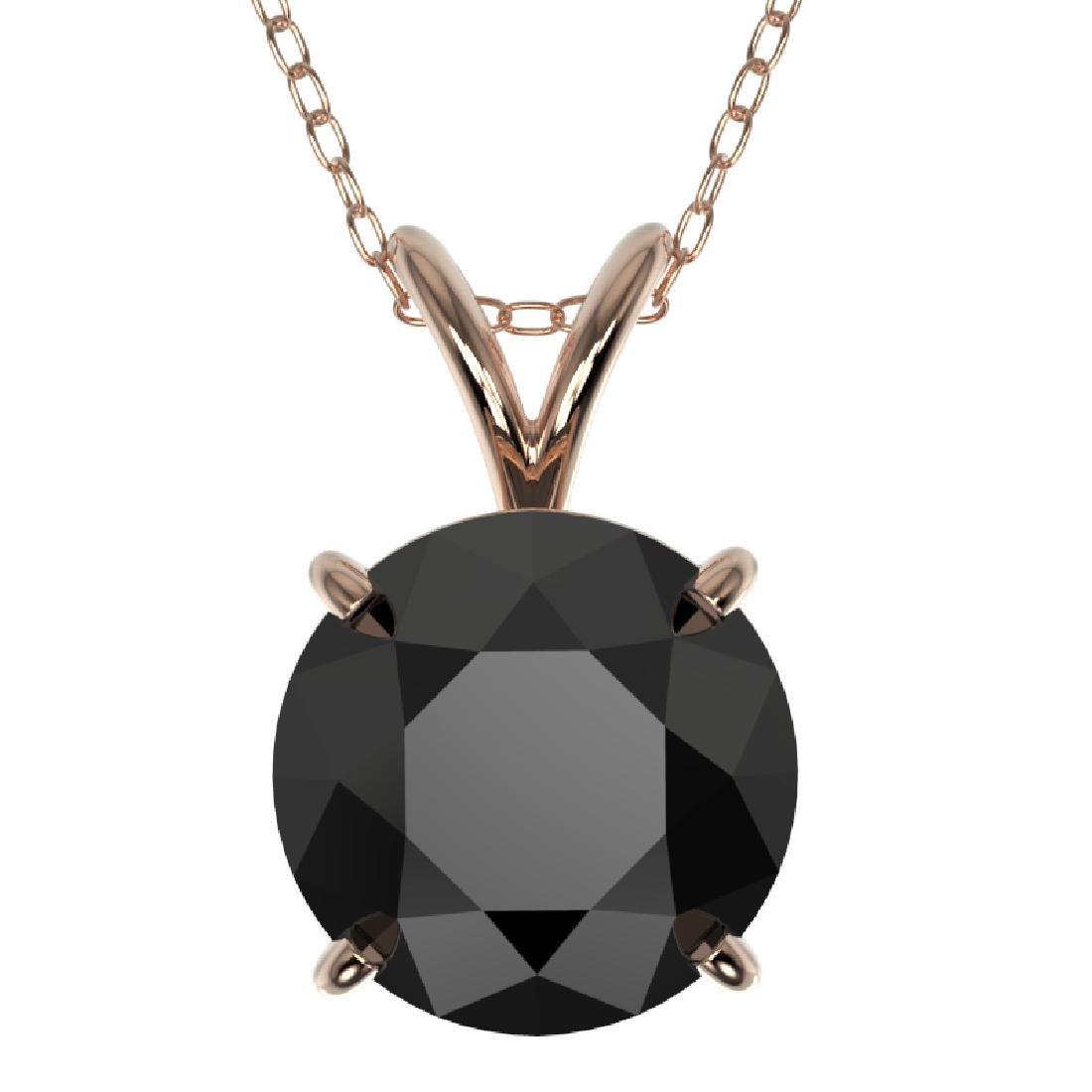 2.09 CTW Fancy Black VS Diamond Solitaire Necklace 10K