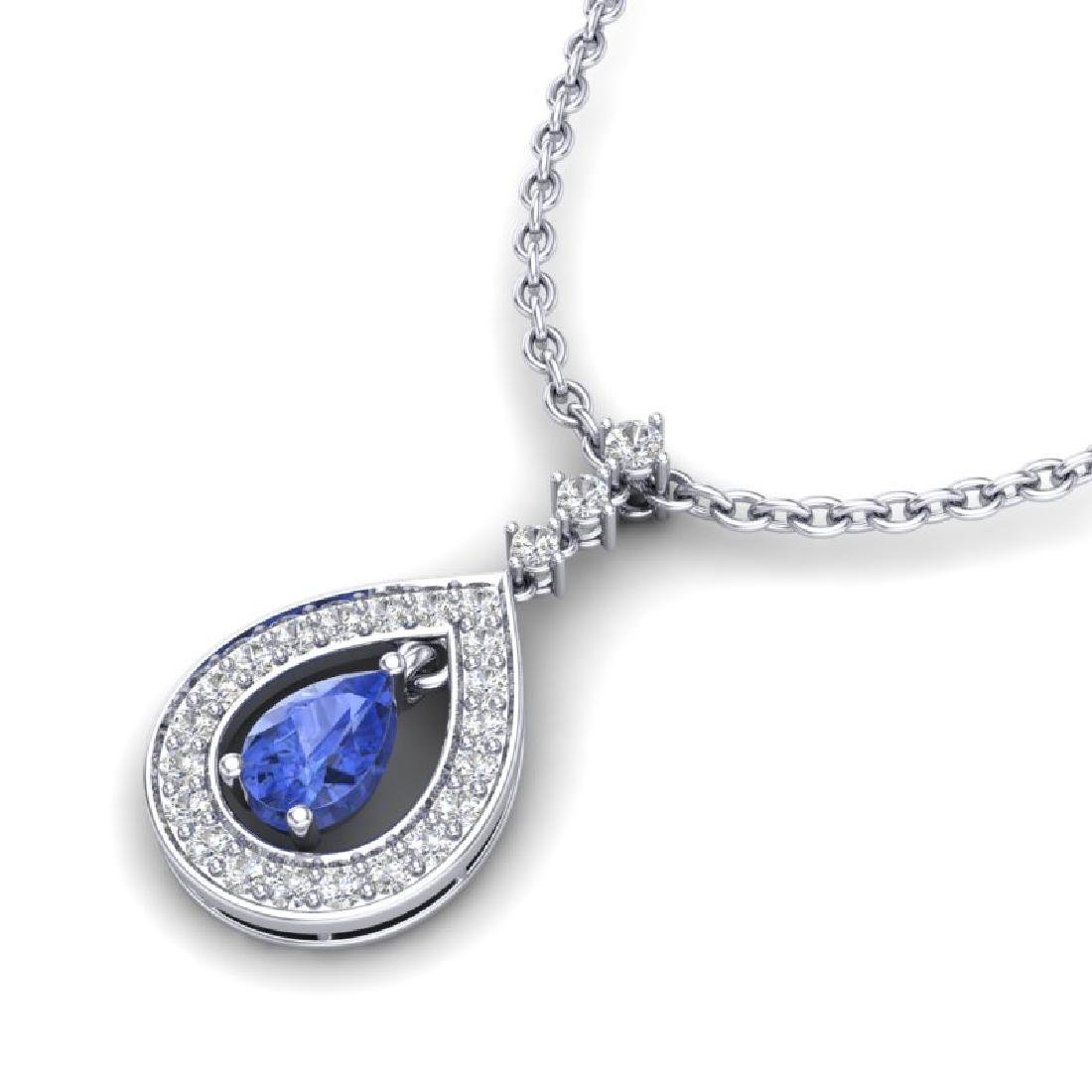 1.15 CTW Tanzanite & Micro Pave VS/SI Diamond Necklace