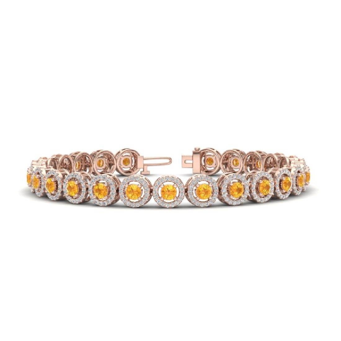 8.75 CTW Citrine & Micro Pave VS/SI Diamond Bracelet