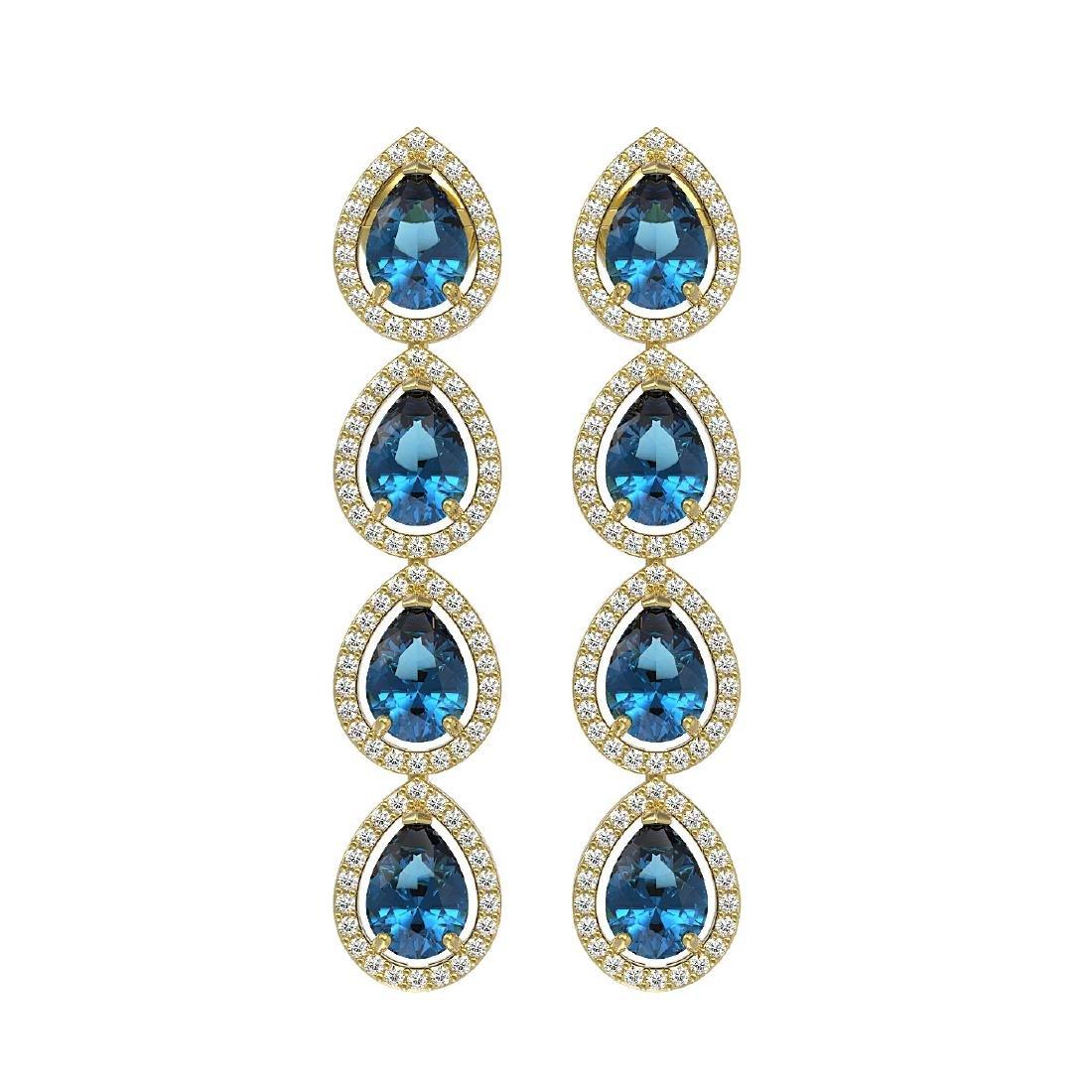 7.81 CTW London Topaz & Diamond Halo Earrings 10K