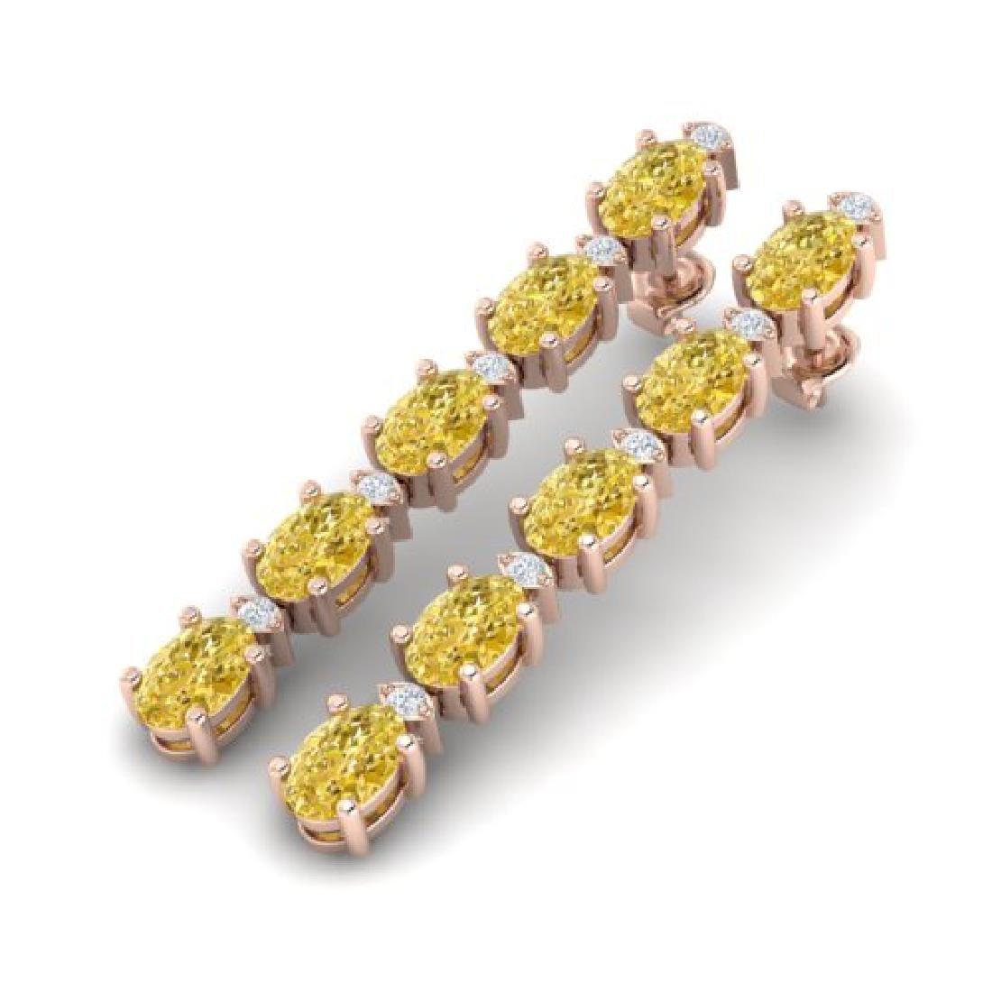 6 CTW Citrine & VS/SI Diamond Tennis Earrings 10K Rose