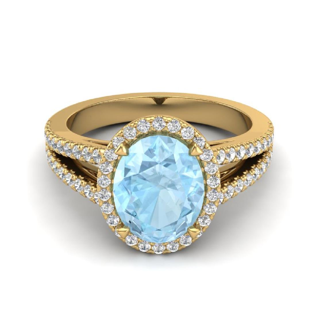 3 CTW Aquamarine & Micro VS/SI Diamond Halo Solitaire