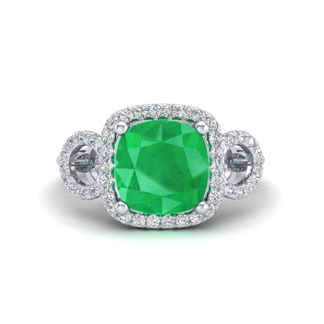 3.15 CTW Emerald & Micro VS/SI Diamond Ring 18K White