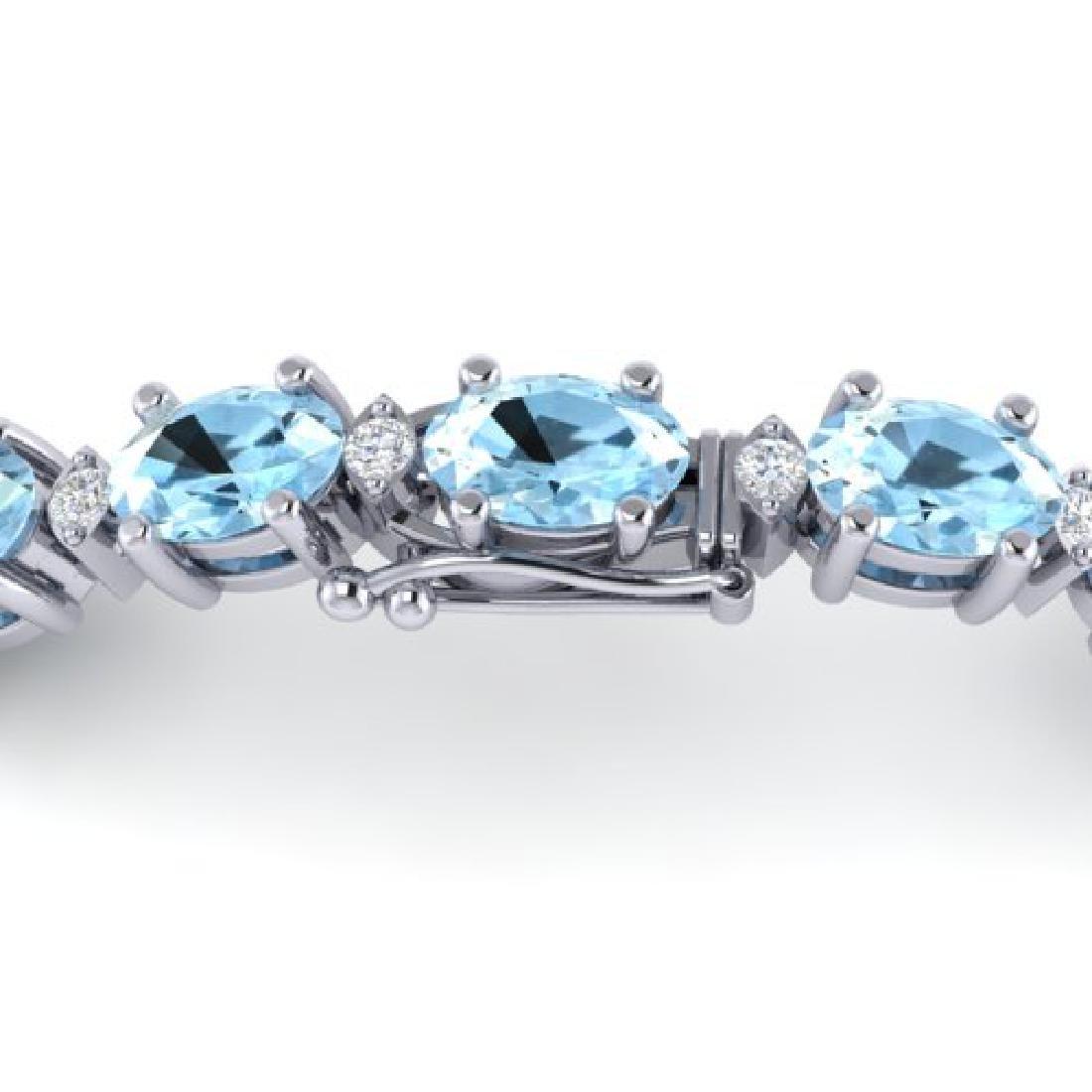 10 CTW Aquamarine & VS/SI Diamond Eternity Bracelet 10K