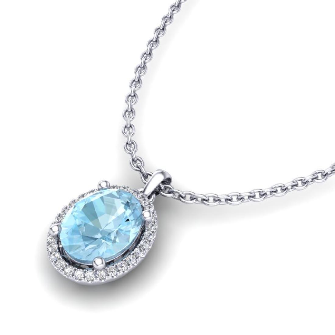 2.50 CTW Aquamarine & Micro VS/SI Diamond Necklace Halo