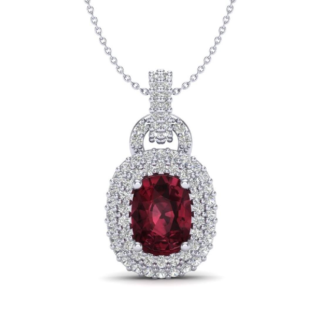 2.50 CTW Garnet And Micro Pave VS/SI Diamond Necklace