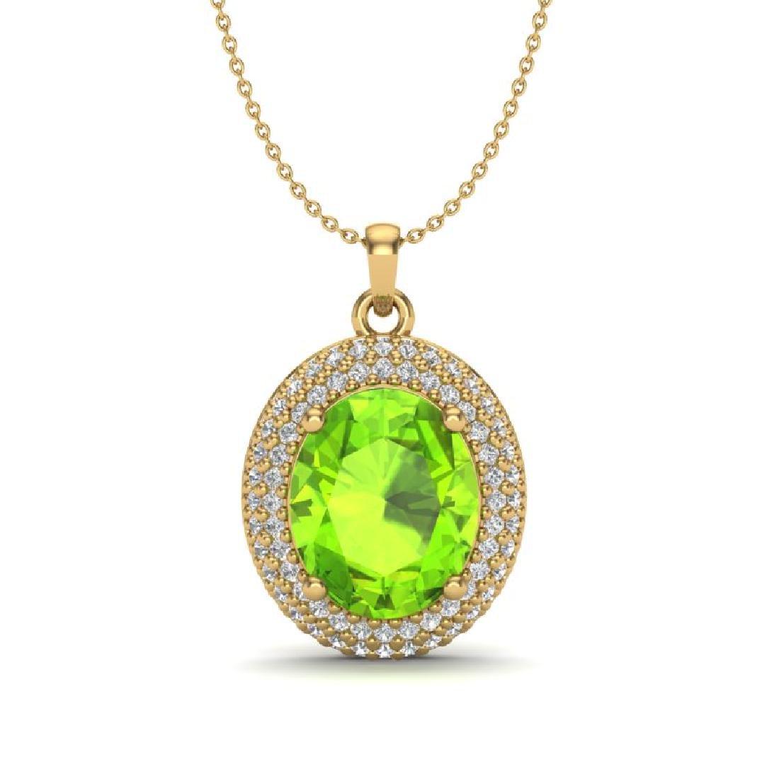 4.50 CTW Peridot & Micro Pave VS/SI Diamond Necklace