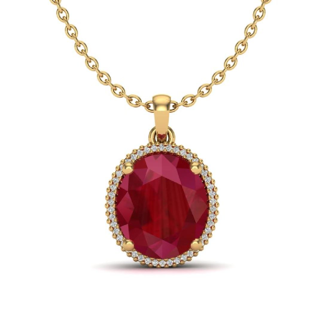 12 CTW Ruby & Micro Pave VS/SI Diamond Halo Necklace