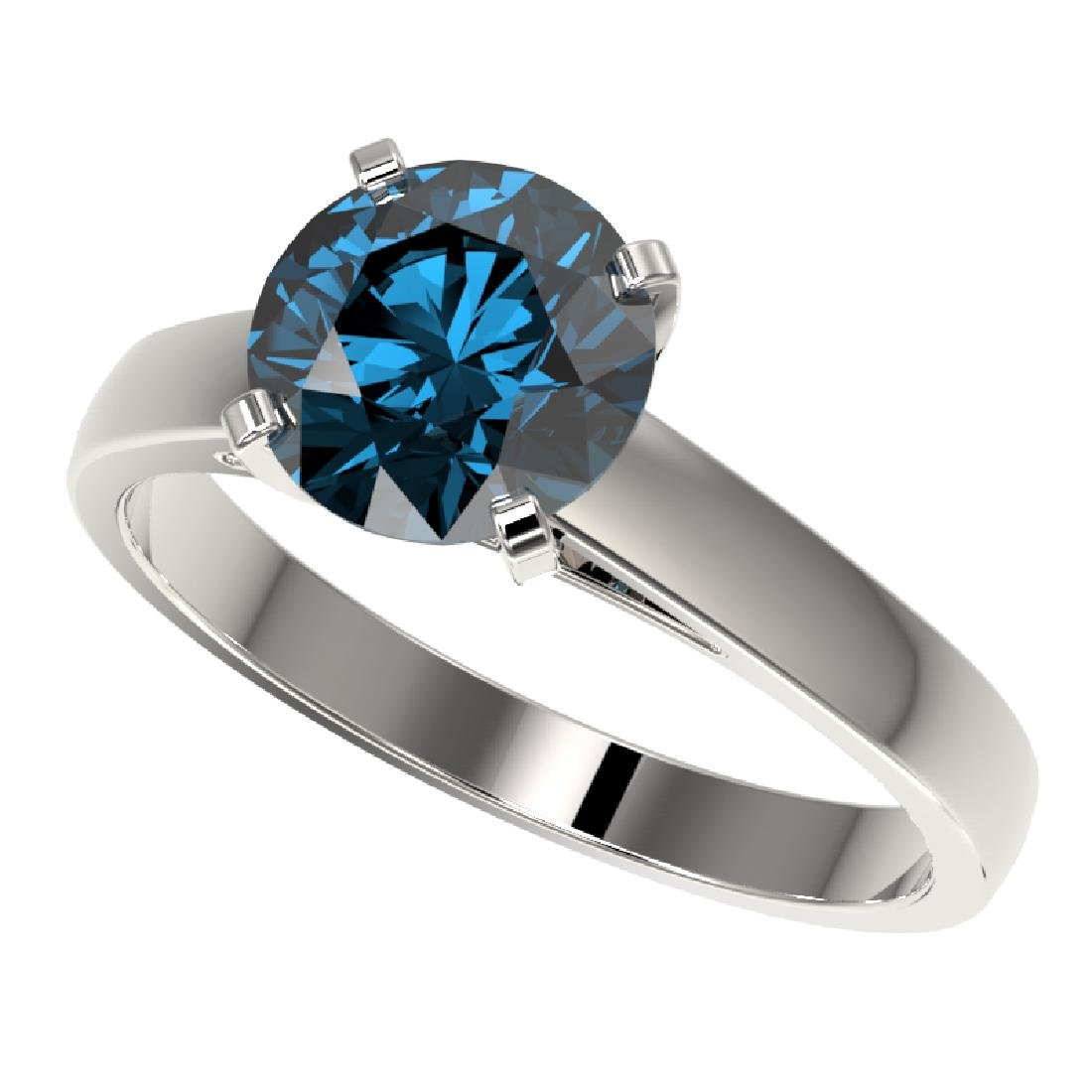2 CTW Certified Intense Blue SI Diamond Solitaire