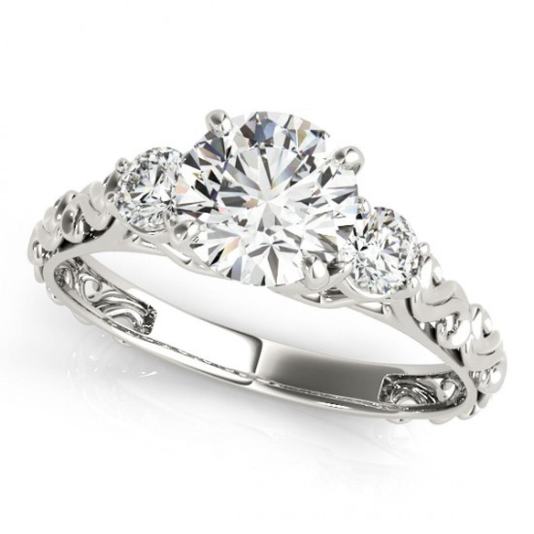 1.25 CTW Certified VS/SI Diamond 3 Stone Ring 14K White