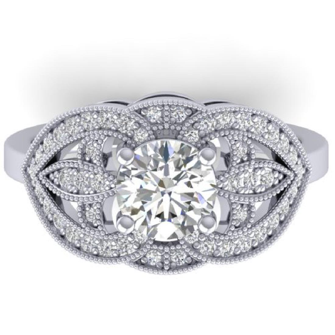 1.5 CTW Certified VS/SI Diamond Art Deco Micro Ring 18K