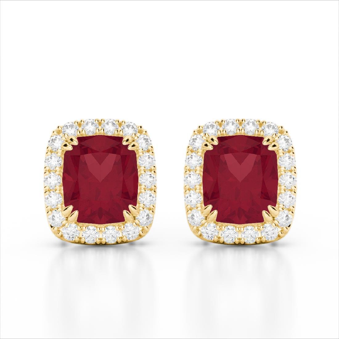 2.50 CTW Ruby & Micro Pave VS/SI Diamond Halo Earrings