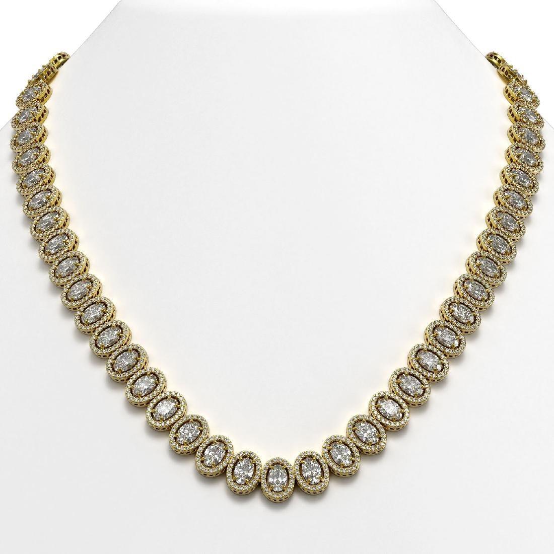 34.72 CTW Oval Diamond Designer Necklace 18K Yellow
