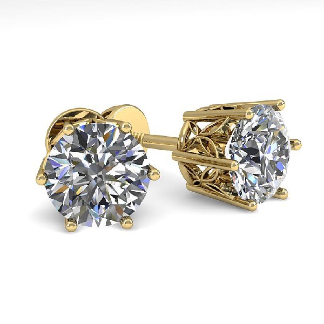 2.03 CTW VS/SI Diamond Stud Art Deco Earrings 14K