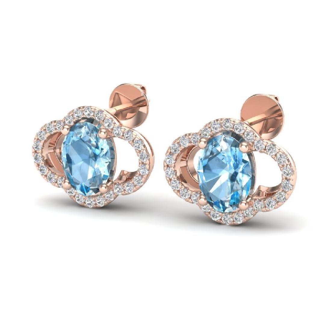 4 CTW Sky Blue Topaz & Micro Pave VS/SI Diamond