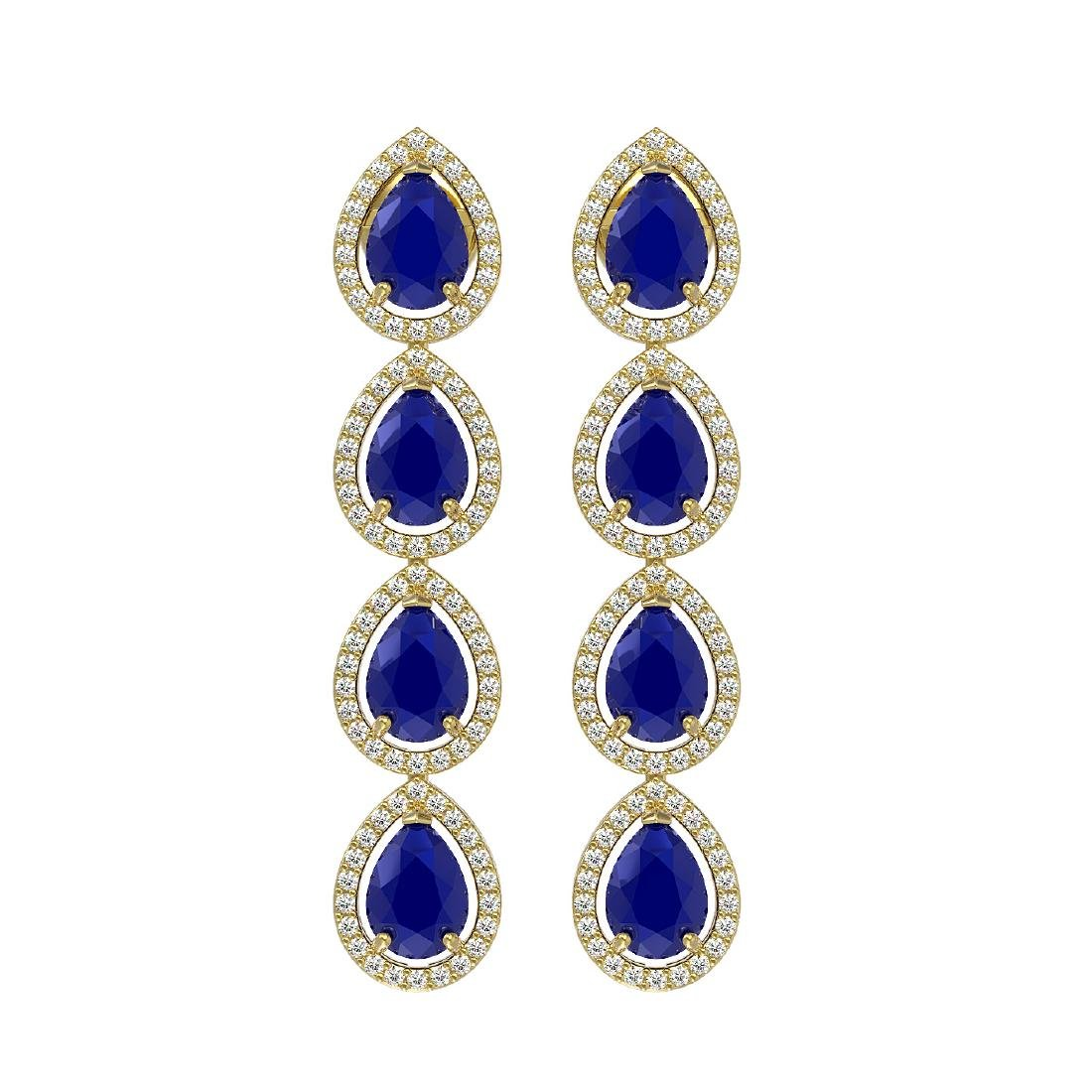 10.2 CTW Sapphire & Diamond Halo Earrings 10K Yellow