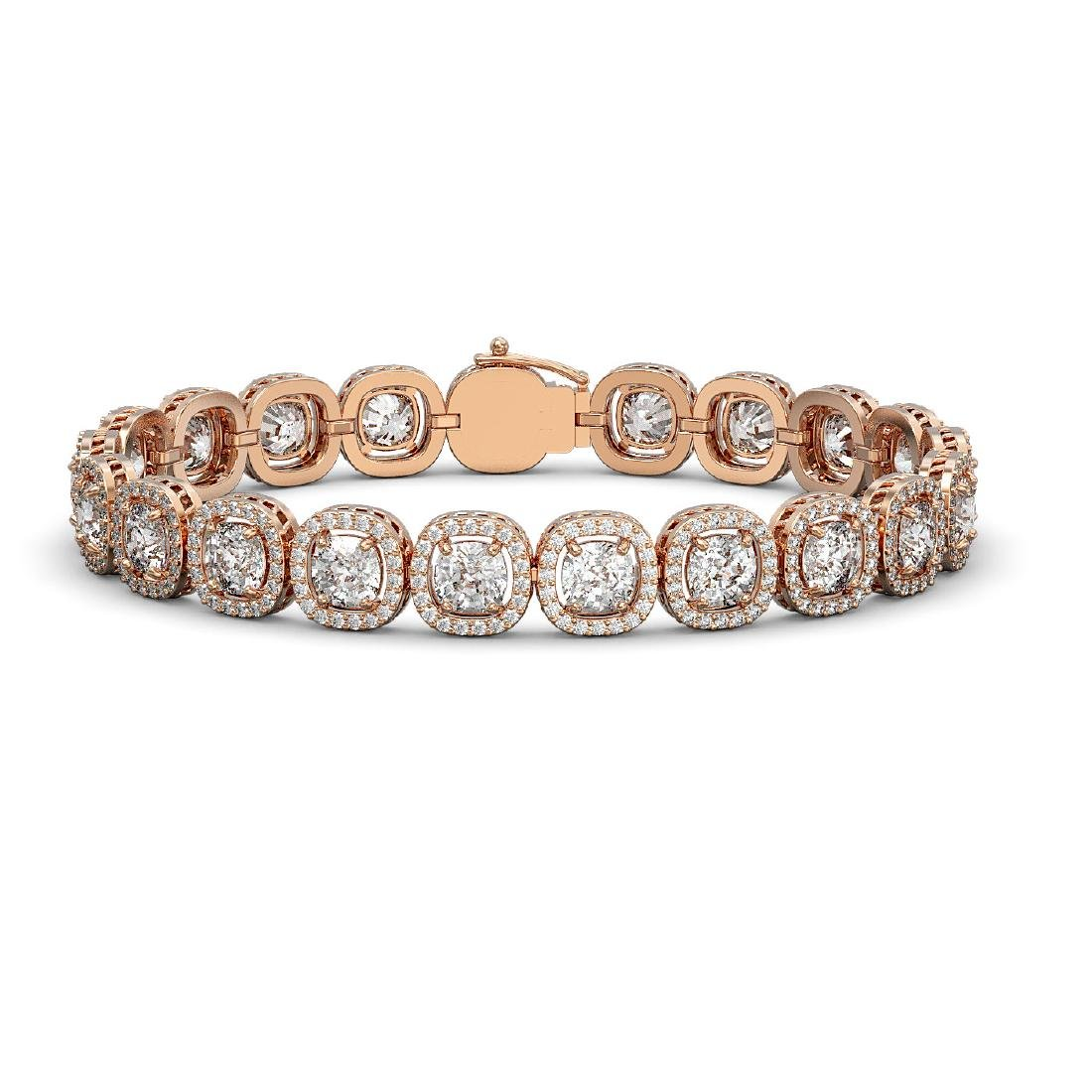 14.41 CTW Cushion Diamond Designer Bracelet 18K Rose