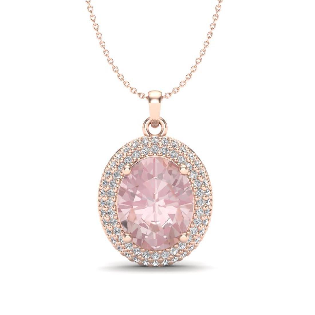 4.50 CTW Morganite & Micro Pave VS/SI Diamond Necklace