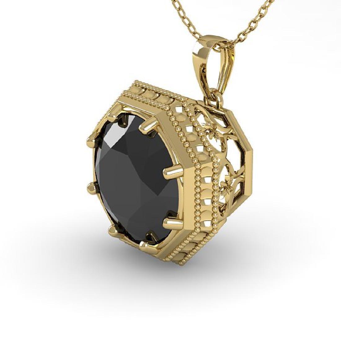 1 CTW Black Certified Diamond Necklace 14K Yellow Gold