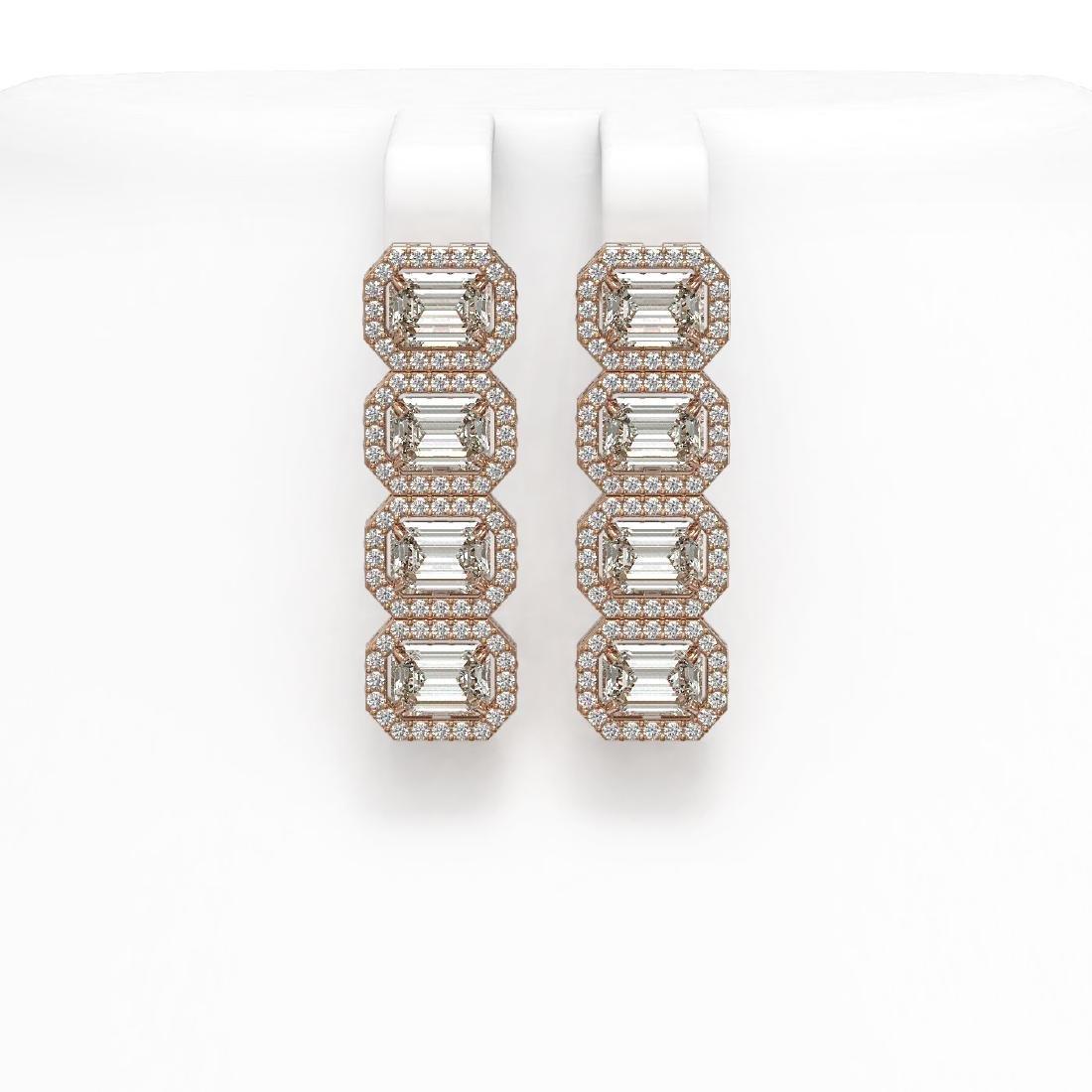 5.33 CTW Emerald Cut Diamond Designer Earrings 18K Rose