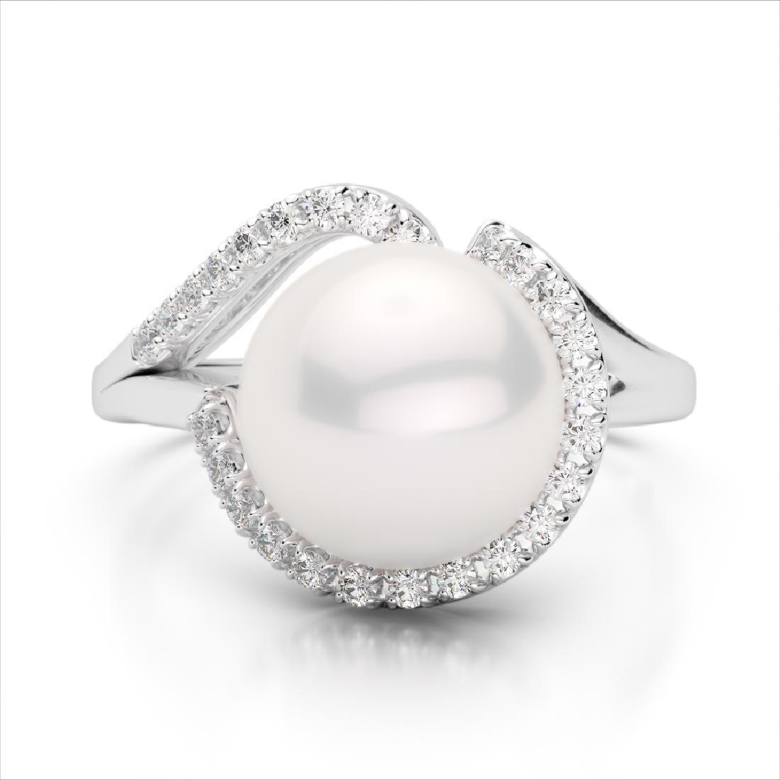 0.27 CTW VS/SI Diamond & Pearl Designer Ring 18K White