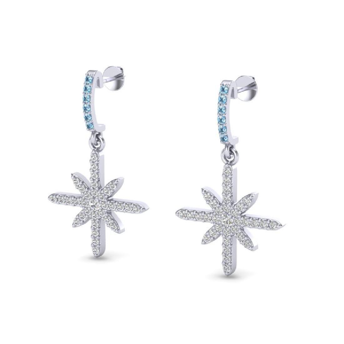 0.75 CTW Micro Pave Blue & White VS/SI Diamond Earrings