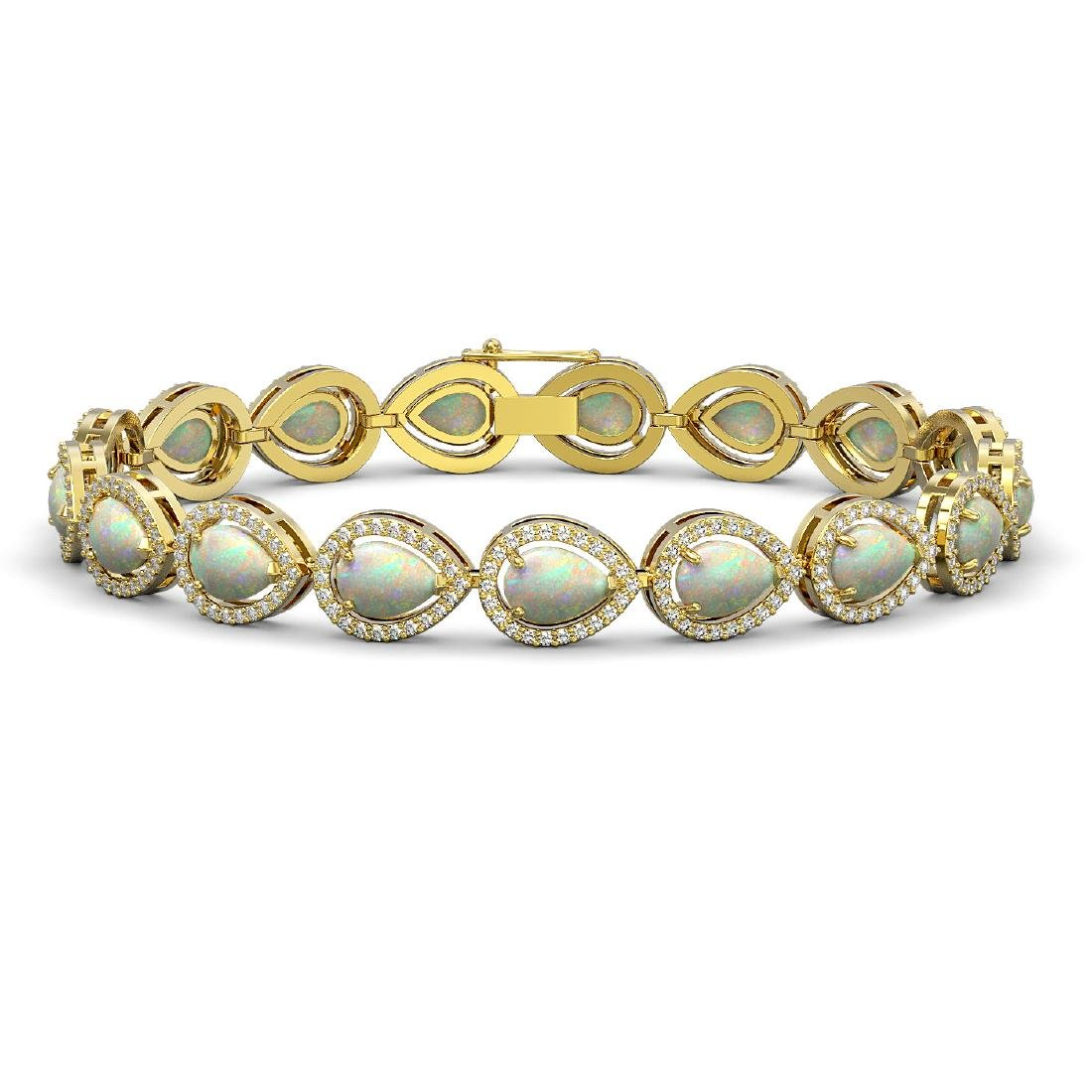 13.19 CTW Opal & Diamond Halo Bracelet 10K Yellow Gold