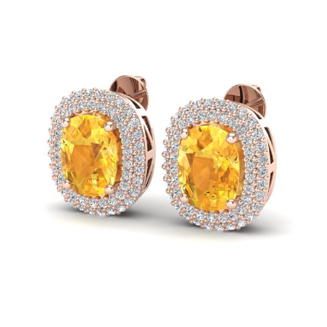 6 CTW Citrine & Micro Pave VS/SI Diamond Halo Earrings