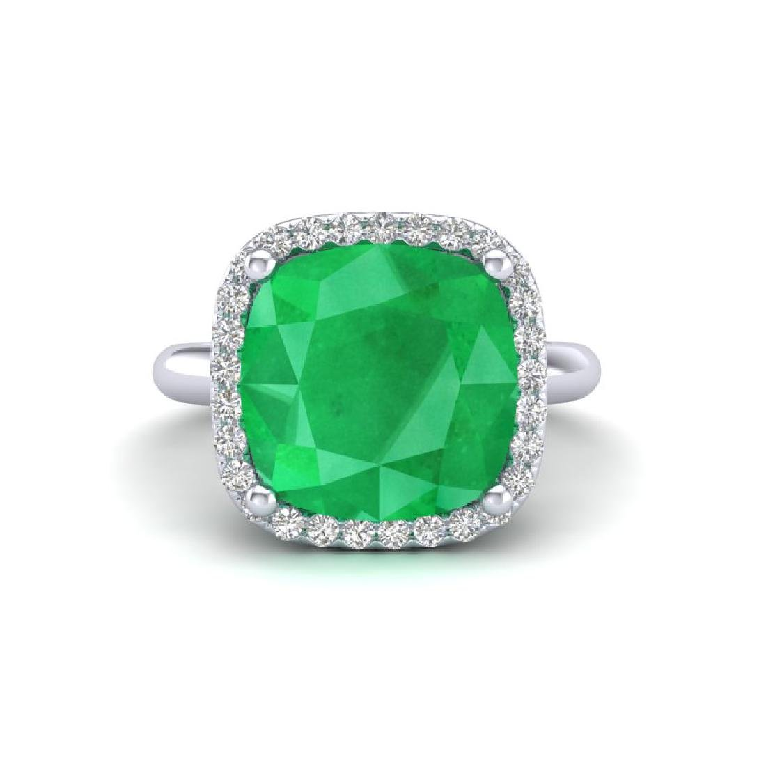 6 CTW Emerald And Micro Pave Halo VS/SI Diamond Ring