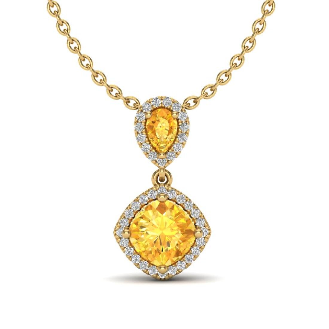 2.63 CTW Citrine & Micro VS/SI Diamond Necklace