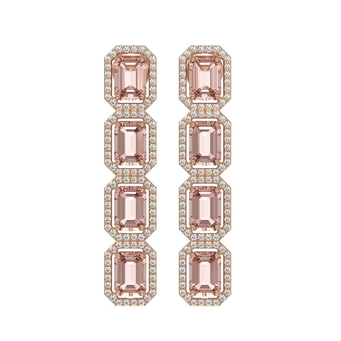 10.73 CTW Morganite & Diamond Halo Earrings 10K Rose