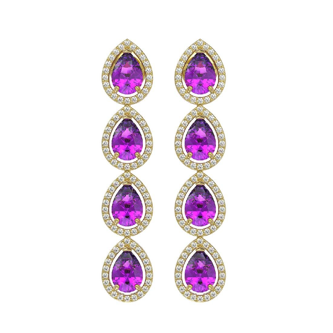 7.85 CTW Amethyst & Diamond Halo Earrings 10K Yellow