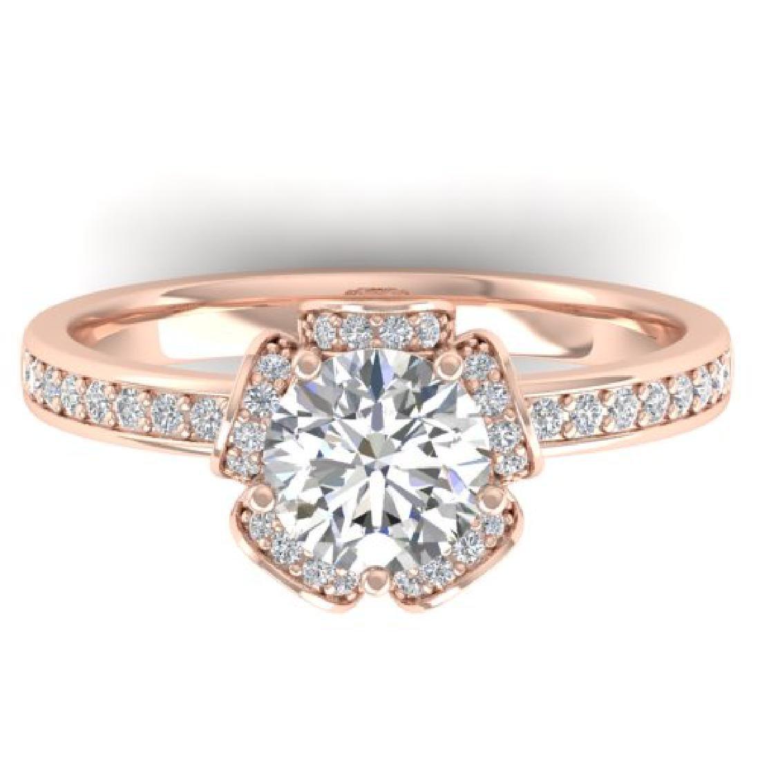 1.75 CTW Certified VS/SI Diamond Art Deco Ring 18K Rose