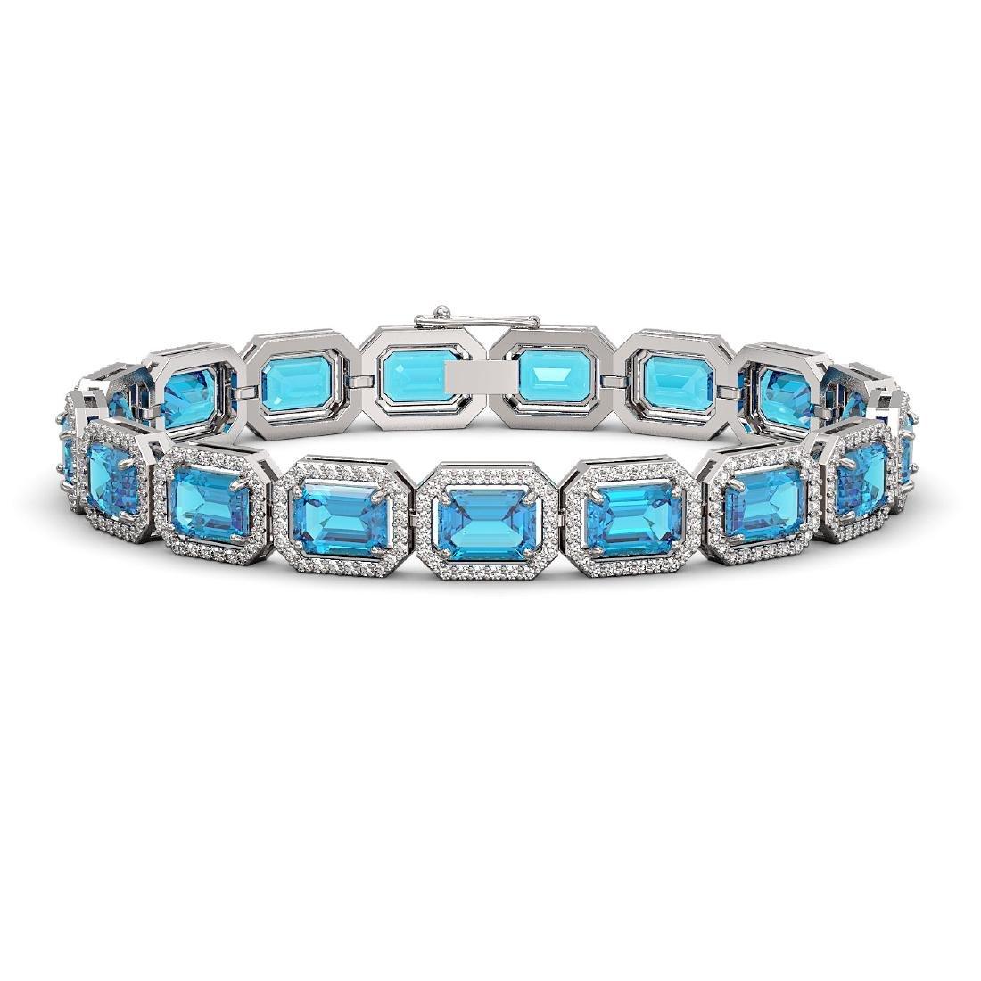 23.66 CTW Swiss Topaz & Diamond Halo Bracelet 10K White