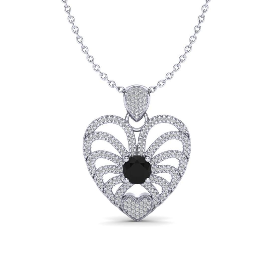 3.50 CTW Black & White Micro VS/SI Diamond Heart