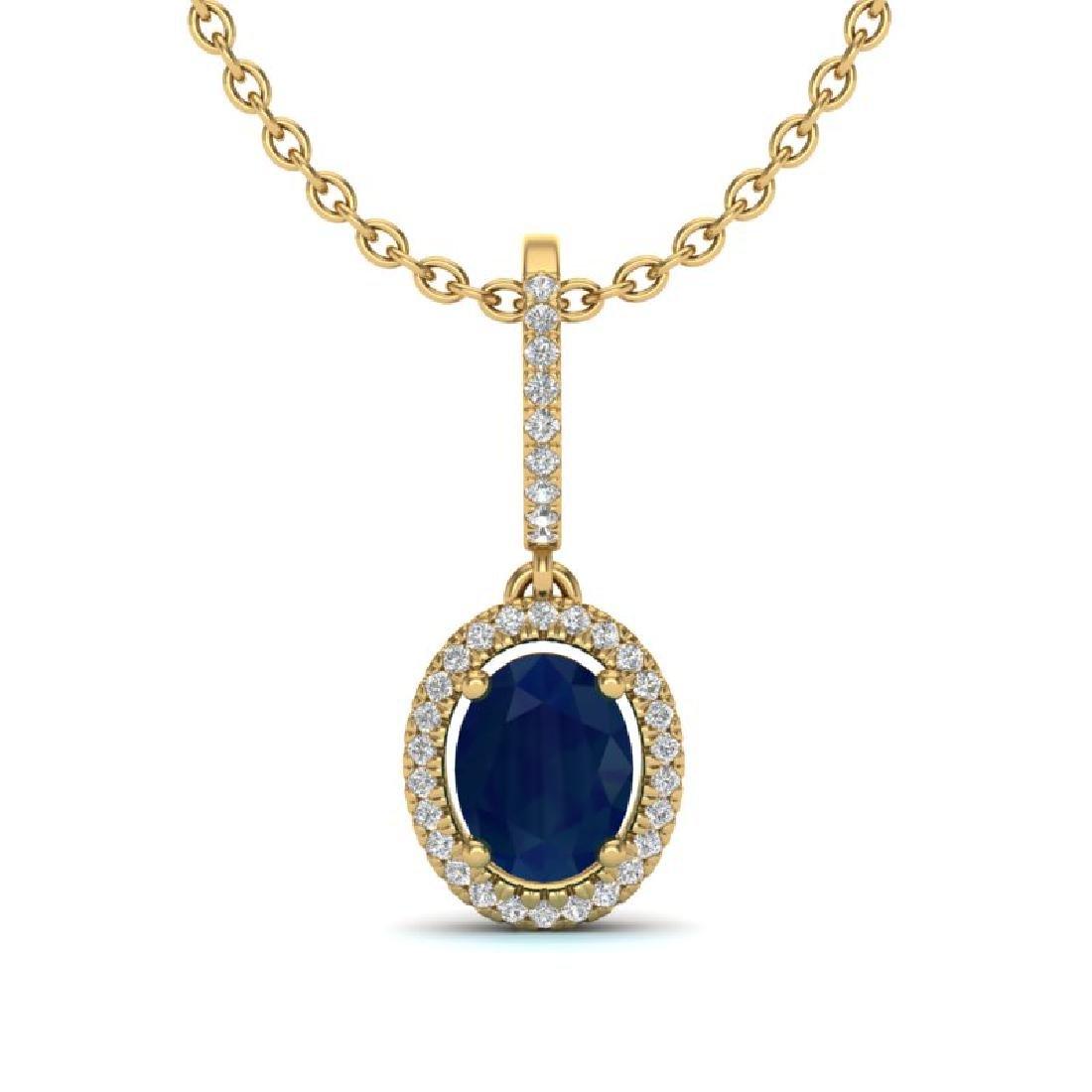 2 CTW Sapphire & Micro Pave VS/SI Diamond Necklace Halo