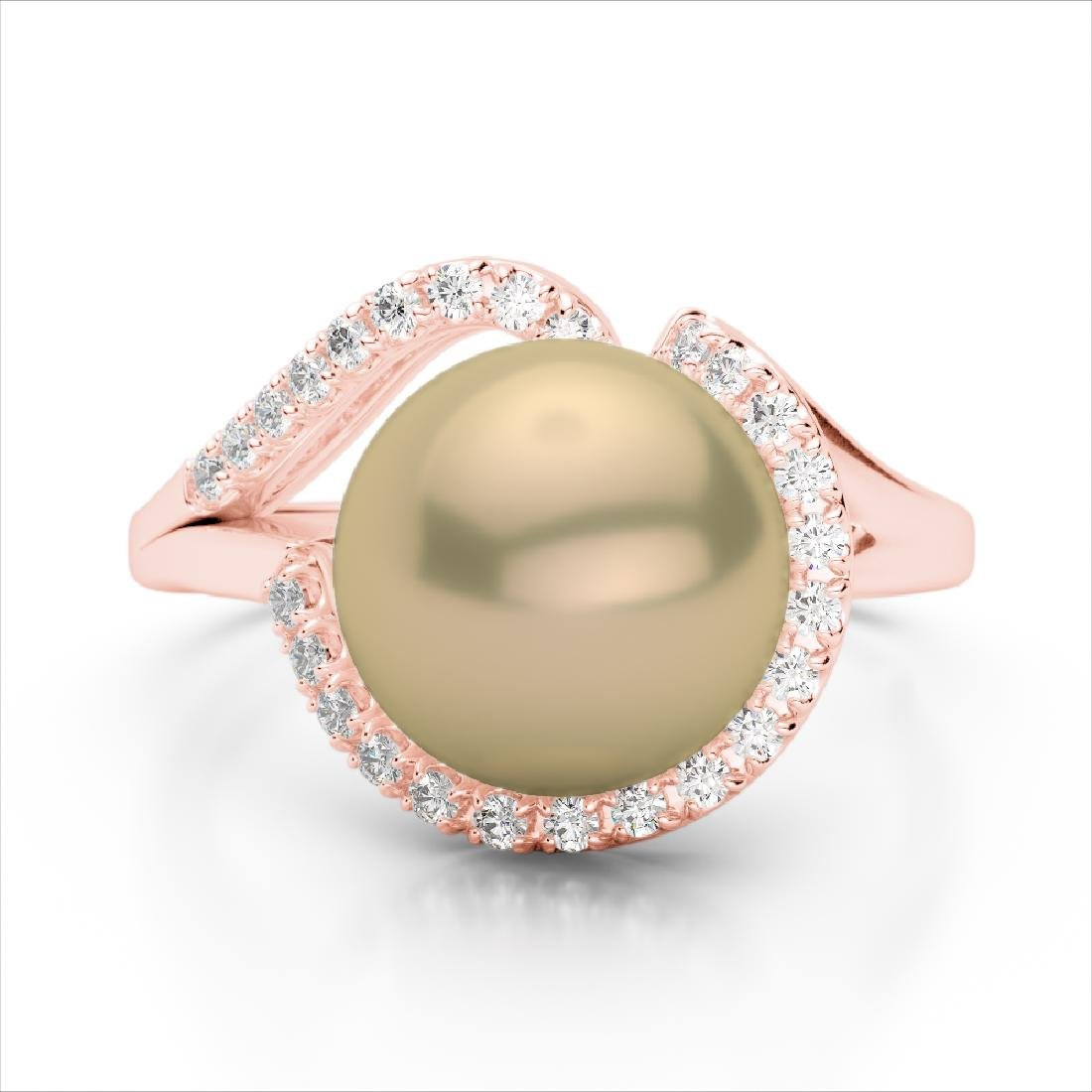0.27 CTW VS/SI Diamond & Golden Pearl Designer Ring 14K