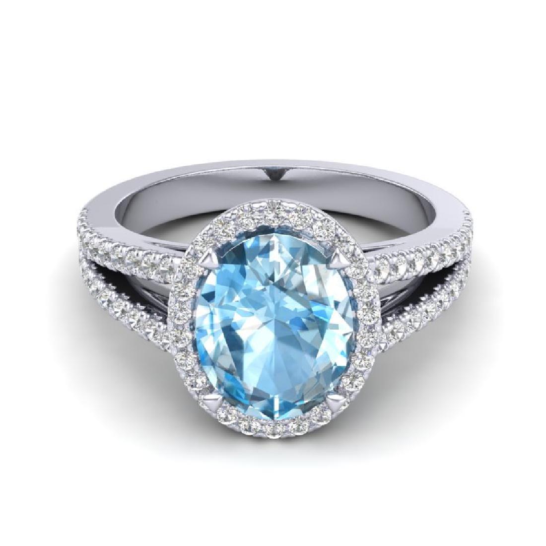3 Sky Blue Topaz & Micro VS/SI Diamond Halo Solitaire