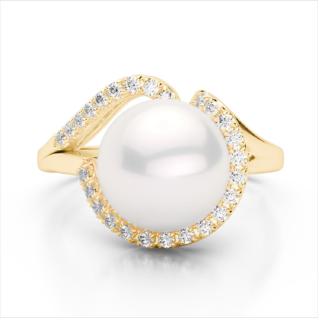 0.27 CTW VS/SI Diamond & Pearl Designer Ring 18K Yellow