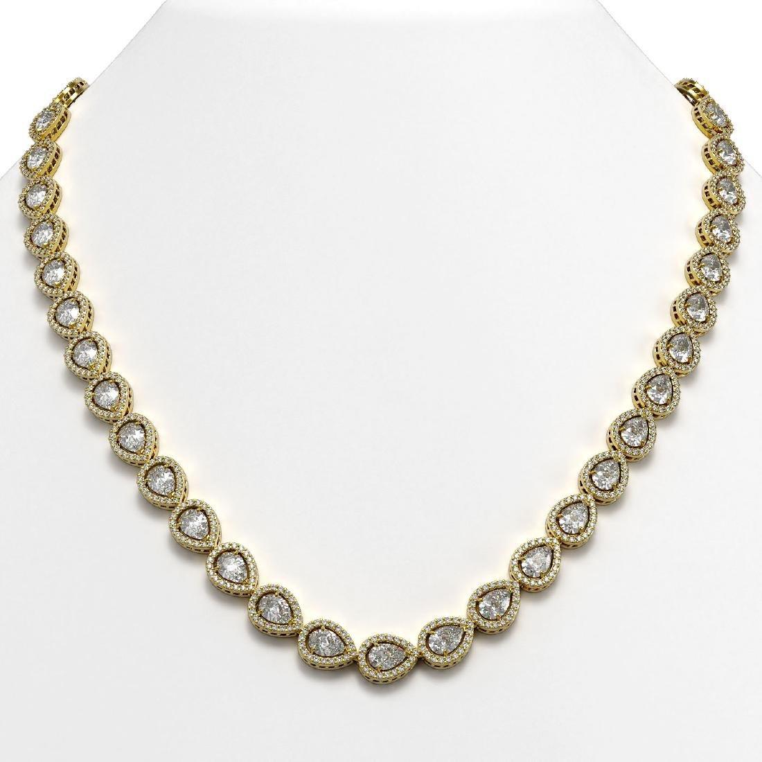 28.74 CTW Pear Diamond Designer Necklace 18K Yellow