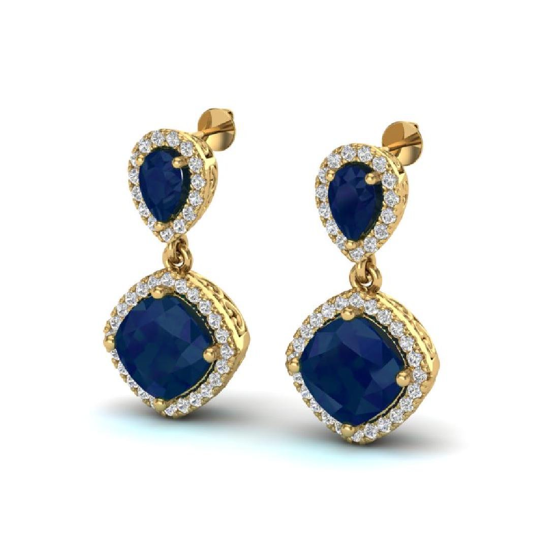 7 CTW Sapphire & Micro Pave VS/SI Diamond Earrings