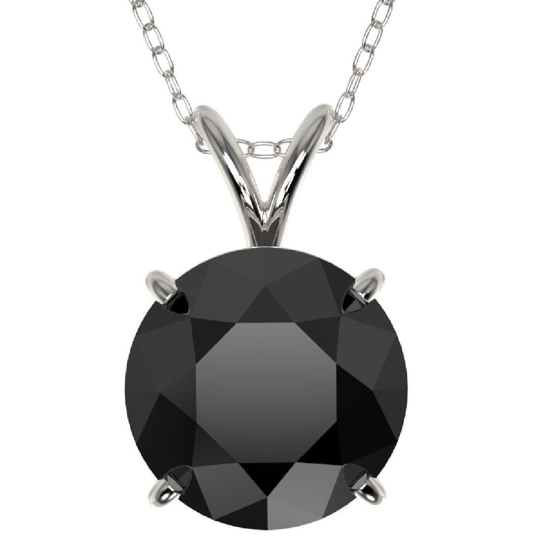 2.50 CTW Fancy Black VS Diamond Solitaire Necklace 10K