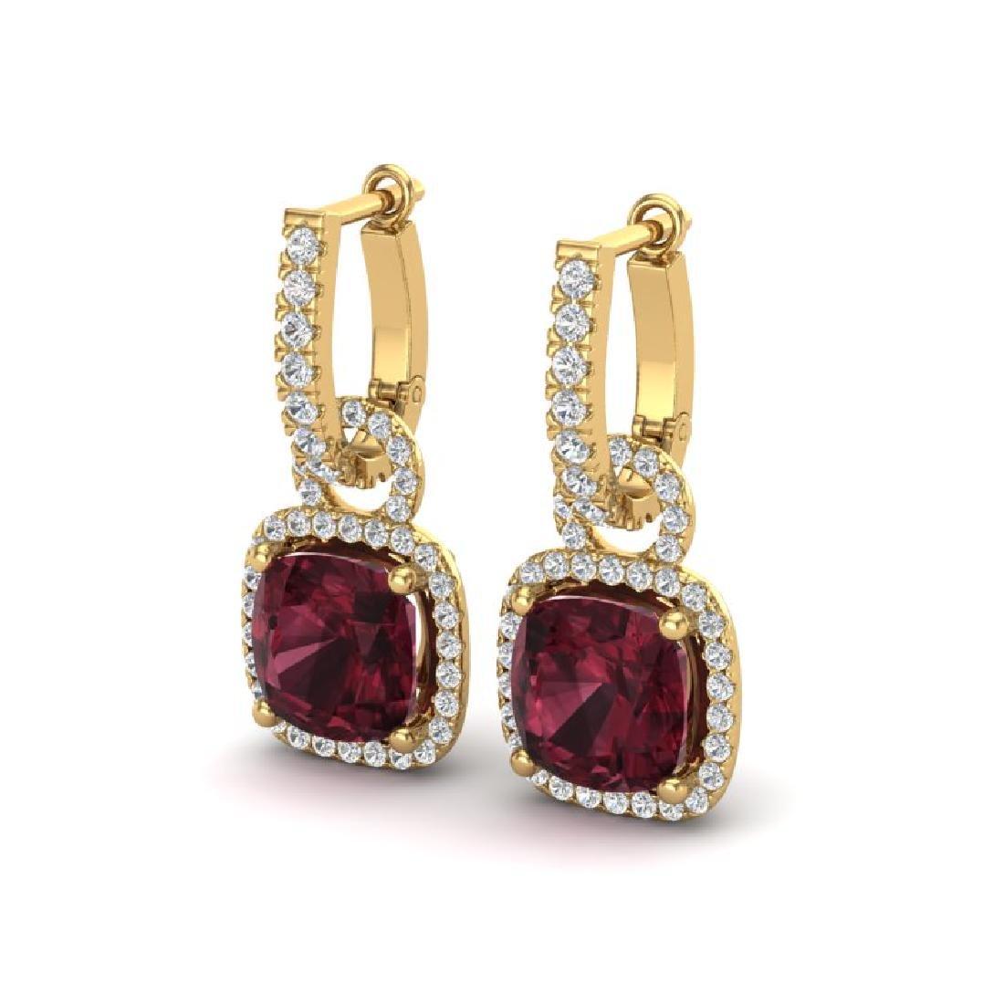 7 CTW Garnet & Micro Pave VS/SI Diamond Earrings 18K